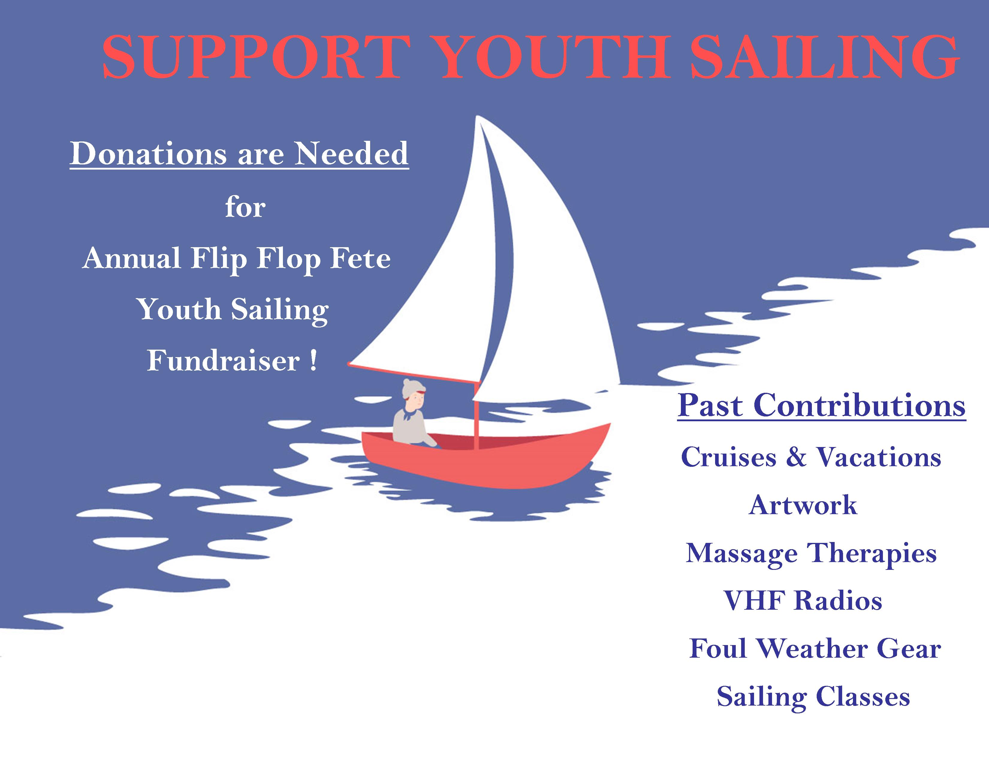 flip flop donation flyer support the kids coconut grove sailing club